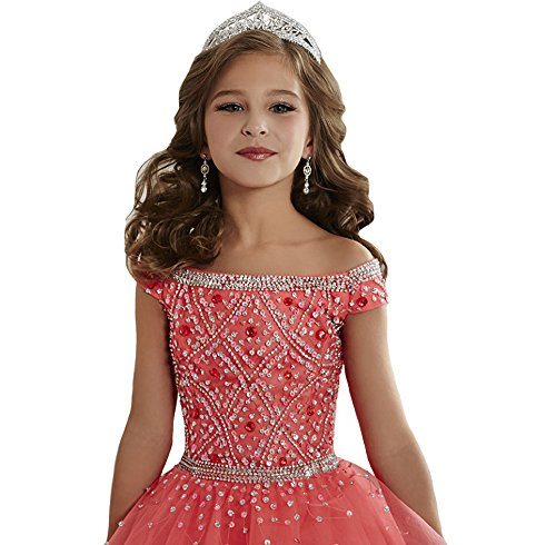 Zhiban Girls' Off Shoulder Evening Dresses Kids' Sequins Tulle Pageant Gowns 14 US Watermelon