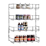 INTEY Spice Rack 4-Tier Spice Storage Cabinet Spice Organizer for Kitchen, Door Wall-mounted Spicy Shelf, Chrome