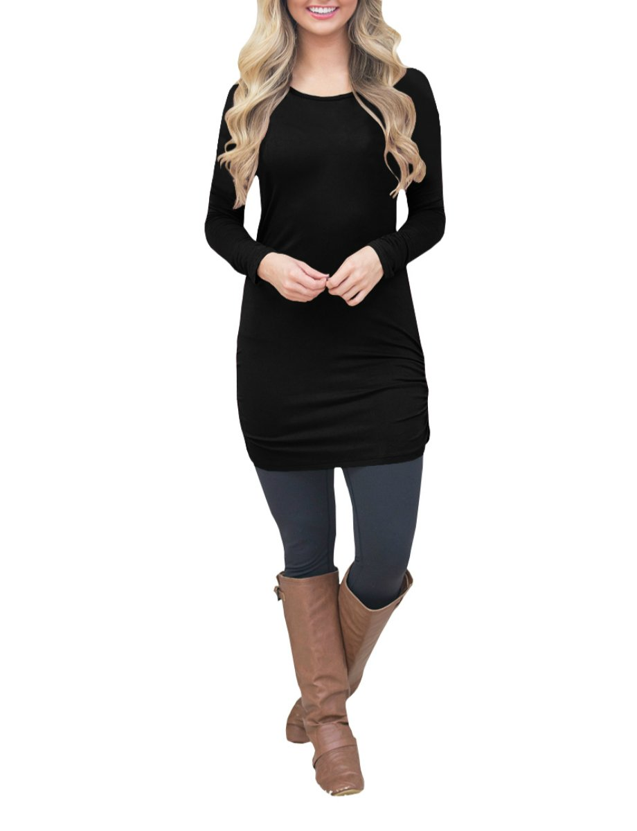 Nulibenna Womens Ruched Long Sleeve Crew Neck Bodycon Solid Tunic Blouses Fall Tops
