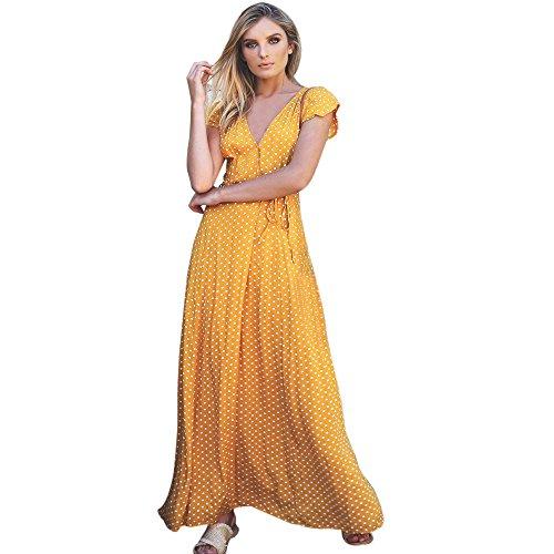 Smock Maxi (Womens Maxi Dress Dot Long Boho Dress Lady Beach Summer Sundrss Yellow)