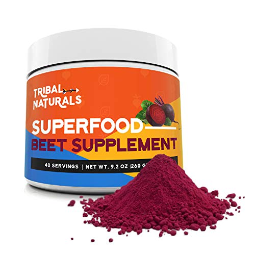 Tribal Naturals Superfood Beet Supplement, 9.2oz Organic Beet Root Powder, Beetroot Supplement Nitric Oxide Booster, Pre Workout for Men & Women, Beets Supplement Preworkout Powder Drink (40 Servings)