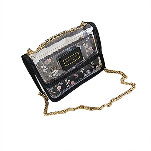 Black Bags Clear Shoulder Transparent Handbag Bag Bag Clear Waterproof Chain 2 Shouler Crossbody PVC Bag QZUnique Stachel aq4wnUpwZ