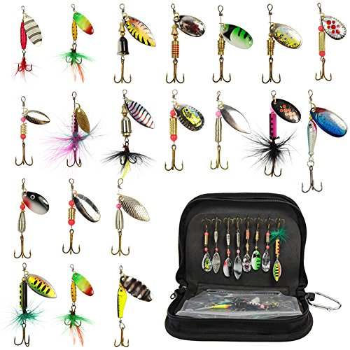 Fishing Spinner Kit Fishing Spinning Lure Metal Bait Bass Lures for Bass, Salmon, Pike or Walleye with Portable Carry Bag (20 pcs)