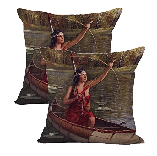 set of 2 Indian Maidens Canoe Bow Arrow R.Atkinson Fox cushion cover wholesale throw pillow covers