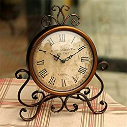 Kangsanli Retro European Wrought Iron Craft Clock Bronze Gold Mute Table Clock Handicraft Clock