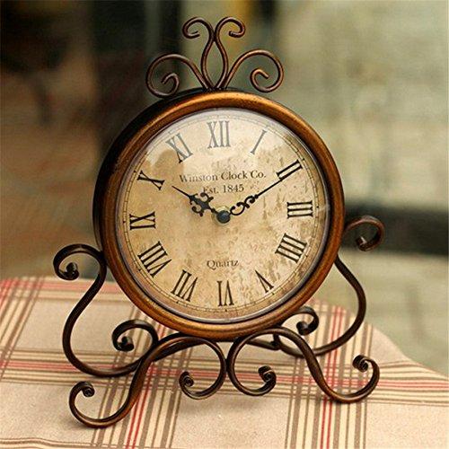 Kangsanli Retro European Wrought Iron Craft Clock Bronze Gold Mute Table Clock Handicraft Clock ()