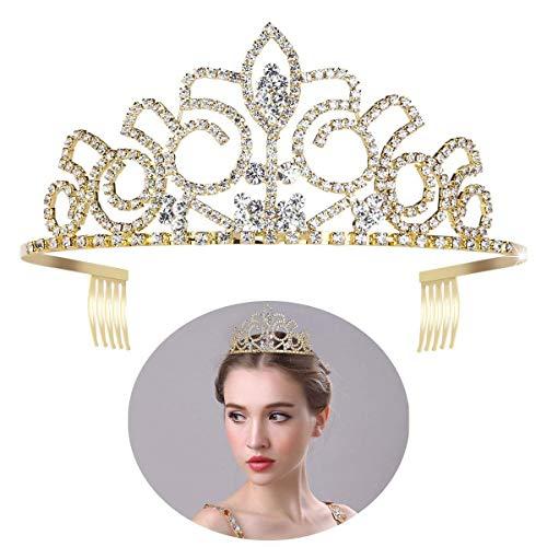 ULTNICE Wedding Tiara Bridal Princess Crown Crystal Rhinestones Headband for Prom Wedding Party Gold