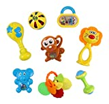 Animal Fun 8 Piece Baby Rattle and Teether Toy Play Set in Milk Botttle