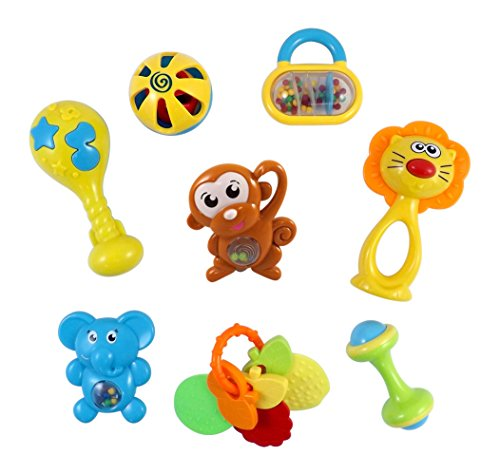 Animal Fun 8 Piece Baby Rattle and Teether Toy Play Set