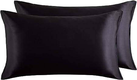 Bedsure Funda Almohada 50x75cm Satén Negro - Juego de 2 Fundas Almohadas 75x50 Pelo Rizado, Muy Liso Suave de 100% Microfibra, Antiarrugas sin Cremallera, 2 Piezas: Amazon.es: Hogar