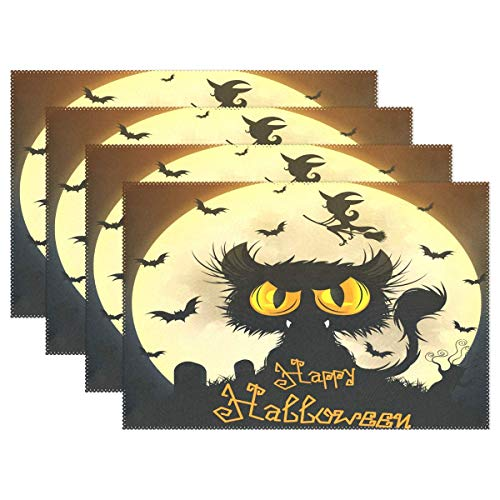 Halloween Black Cat Moon Placemats for Dining Table Set of 4, Witch Bat Tomb Kitchen Table Mats Washable Heat Resistant Stain-Resistant Non Slip Placemat 12x18 inch Easy to Clean -