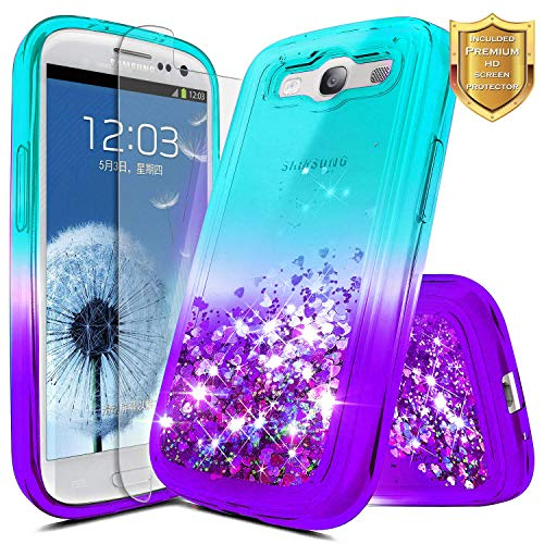 Galaxy S3 Case w/[Screen Protector HD], NageBee Glitter Liquid Quicksand Waterfall Floating Flowing Sparkle Shiny Bling Diamond Girls Cute Case for Galaxy S3 (S III I9300 GS3) - Phone S3 Galaxy Protector