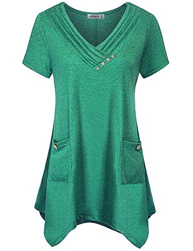 (MOQIVGI Career Blouses for Women,Juniors Short Sleeve V Neck Tops with Button Trim Stylish Casual Slim Fit Asymmetric Hem Tunics Boutique Clothing Spring Summer 2018 Shirts Green X-Large)