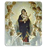dealzEpic - Art Mousepad - Natural Rubber Mouse Pad with Famous Fine Art Painting of The Virgin with Angels by William-Adolphe Bouguereau - Stitched Edges - 9.5x7.9 inches