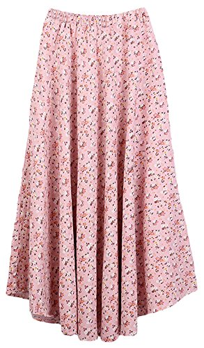 Youhan Women's Print Flower Elastic Waist Cotton Linen Long Maxi Pleat Skirt (Free Size, Floral 11)