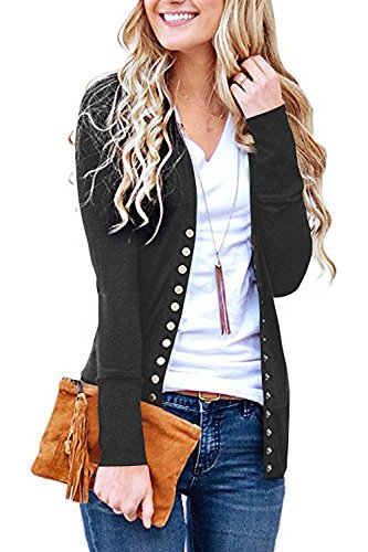 Steven McQueen Women's S-3XL Solid Button Front Knitwears Long Sleeve Casual Cardigans Charcoal 3XL