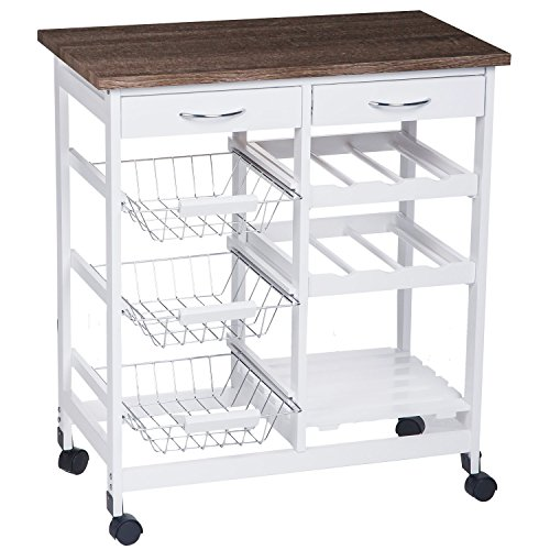 Merax White Mobile Kitchen Trolley with 2 Drawers (Basket)