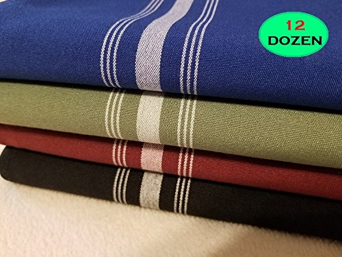 12DOZEN Wholesale Dining Facility Napkins 18x22 Bistro Napkins SANDALWOOD w/White Stripes by the Dozen- 100% Spun Polyester REVERSED Striped Designed for Banquet Rooms and Hospitality Table Linens Cl
