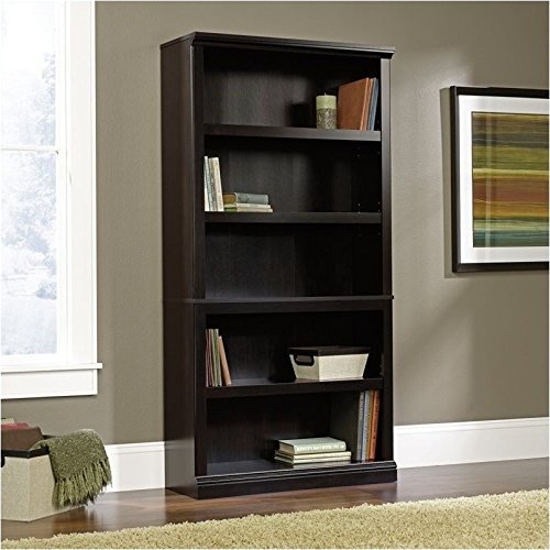Pemberly Row 5 Shelf Bookcase in Estate Black Finish