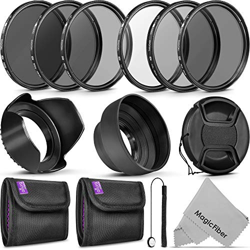 58MM Vivitar UV CPL FLD Filters, Altura Photo ND Filter Set, Collapsible Rubber Lens Hood, Tulip Lens Hood Bundle for Lenses with a 58mm Filter Size ()