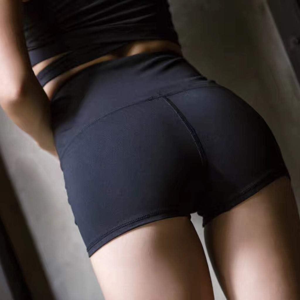 Buolo Womens Yoga Shorts High Waist Bandage Workout Leggings Ladies Solid Tummy Control Stretch Skinny Yoga Shorts Pants
