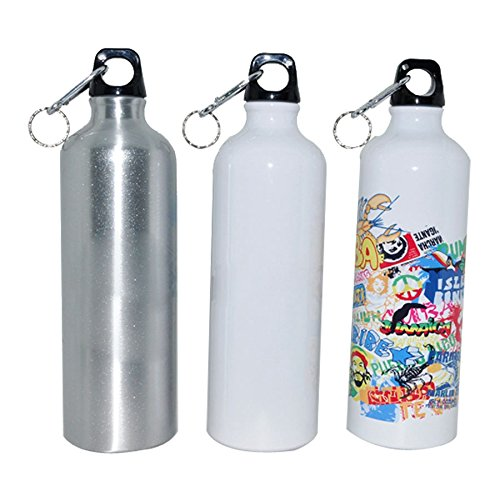 700ml White /Silver Blank Aluminum Sports Bottle For Sublimation DIY Printing - 700 Hts