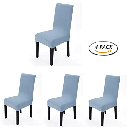 4 Pieces Spandex Stretch Washable Dining Room Chair Cover Protector Seat  Slipcovers (Light Blue,