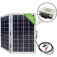 ECO-WORTHY - Caja de panel solar plegable monocristalina portátil de 50 W con controlador de carga, 50 W (poli).