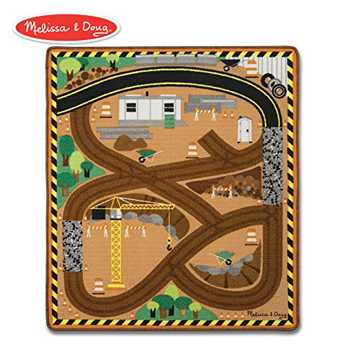 (Melissa & Doug Round the Construction Zone Work Site Rug With 3 Wooden Trucks (39 x 36 inches))
