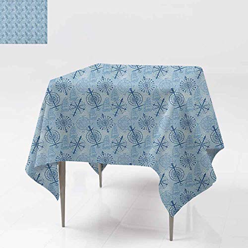 SONGDAYONE Modern Square Tablecloth Compass Sailing on Ancient Waters Theme Stylized Navigation Symbols Ships on Blue Easy to Care Blue Pale Blue White W50 xL50