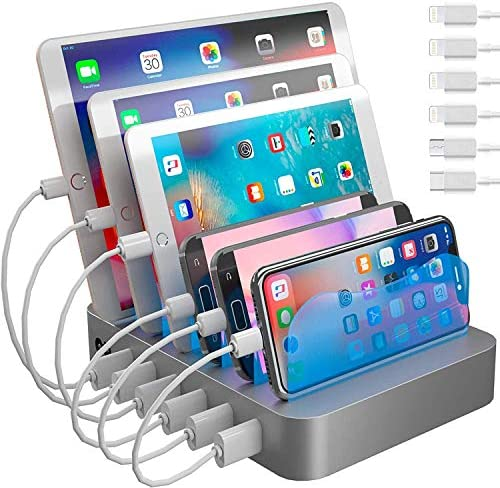 Hercules Tuff Charging Station for A couple of Units, with 6 USB Speedy Ports and six Quick Combined USB Cables Incorporated for Mobile Telephones, Good Telephones, Capsules, and Different Electronics, Silver