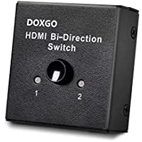Doxgo HDMI Switch Hub Box Ultra HD 4K, 2x1 or 1x2 Bi-Directional Switcher with HDCP Passthrough, 1080P HDTV 3D