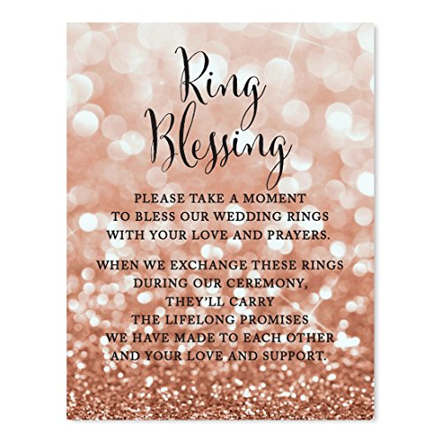 - Andaz Press Wedding Party Signs, Glitzy Rose Gold Glitter, 8.5x11-inch, Ring Blessing, 1-Pack, Bokeh Colored Party Supplies