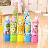 Fablcrew Cute Erasers Creative Fruit Lipstick Shaped Pencil Rubber Eraser for Office School Supplies, 4 Pcs