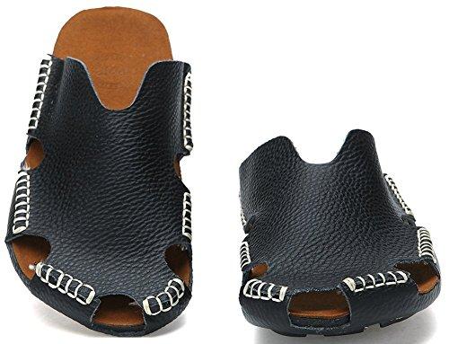 Close Leather Breathable Toe Sandals Men PU ODEMA Black wIxqZHOZB