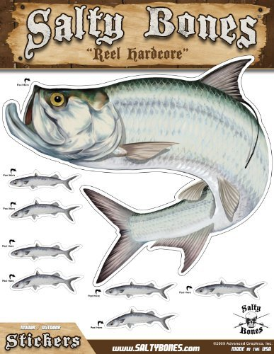 (Salty Bones BMEG4010 Large Tarpon Action Decal, 13.5-inches by 10.5-inches)
