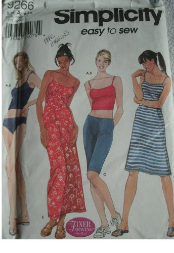 MISSES KNIT BATHING SUIT, SHORTS AND DRESS SIZE 6-8-10-12-14-16 SIMPLICITY EASY TO SEW PATTERN 9266