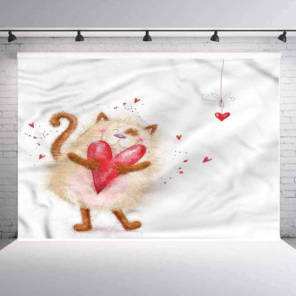 8x8FT Vinyl Wall Photography Backdrop,Love,Cute Cat with Heart Valentines Photo Backdrop Baby Newborn Photo Studio Props