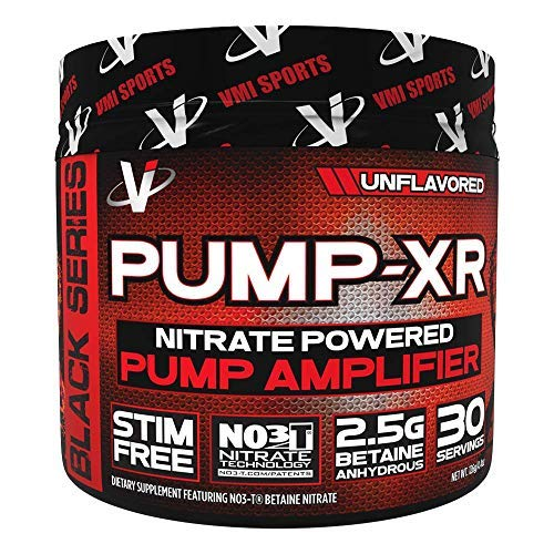 VMI Sports Pump-XR Nitric Oxide Boosting Pre Workout Powder, Intense Pumps, Vascularity and Strength, Stimulant Free, Unflavored, 30 Servings