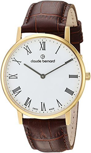 Claude Bernard mens 20214 37J BR Slim Line Analog Display Swiss Quartz Brown Watch