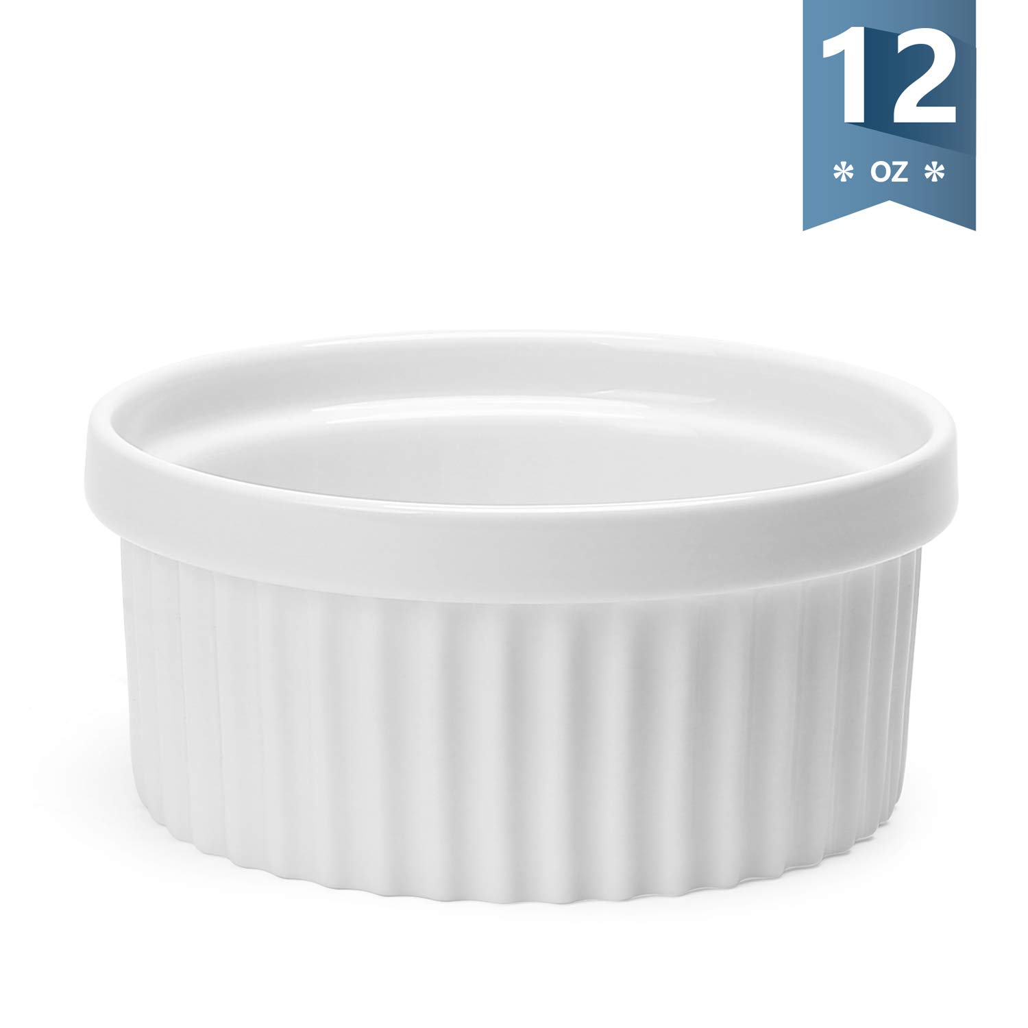 Sweese 503.000 Porcelain Ramekins for Baking - 12 Ounce Souffle Dish - Single, White