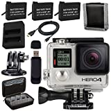 GoPro HERO4 Silver + Rechargeable Battery + Dual Battery Charger + Case for GoPro HERO4 and GoPro Accessories + Tripod Adapter For GoPro Bundle