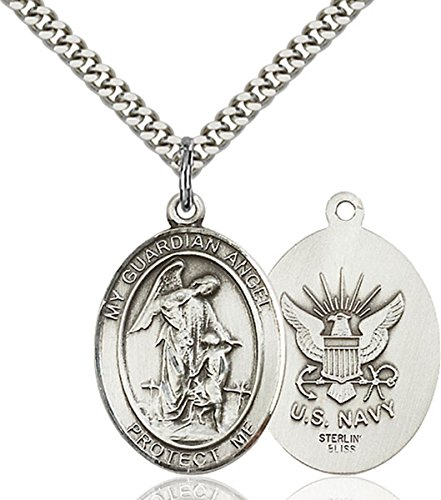 Sterling Silver Guardian Angel Navy Medal Pendant, 1 Inch