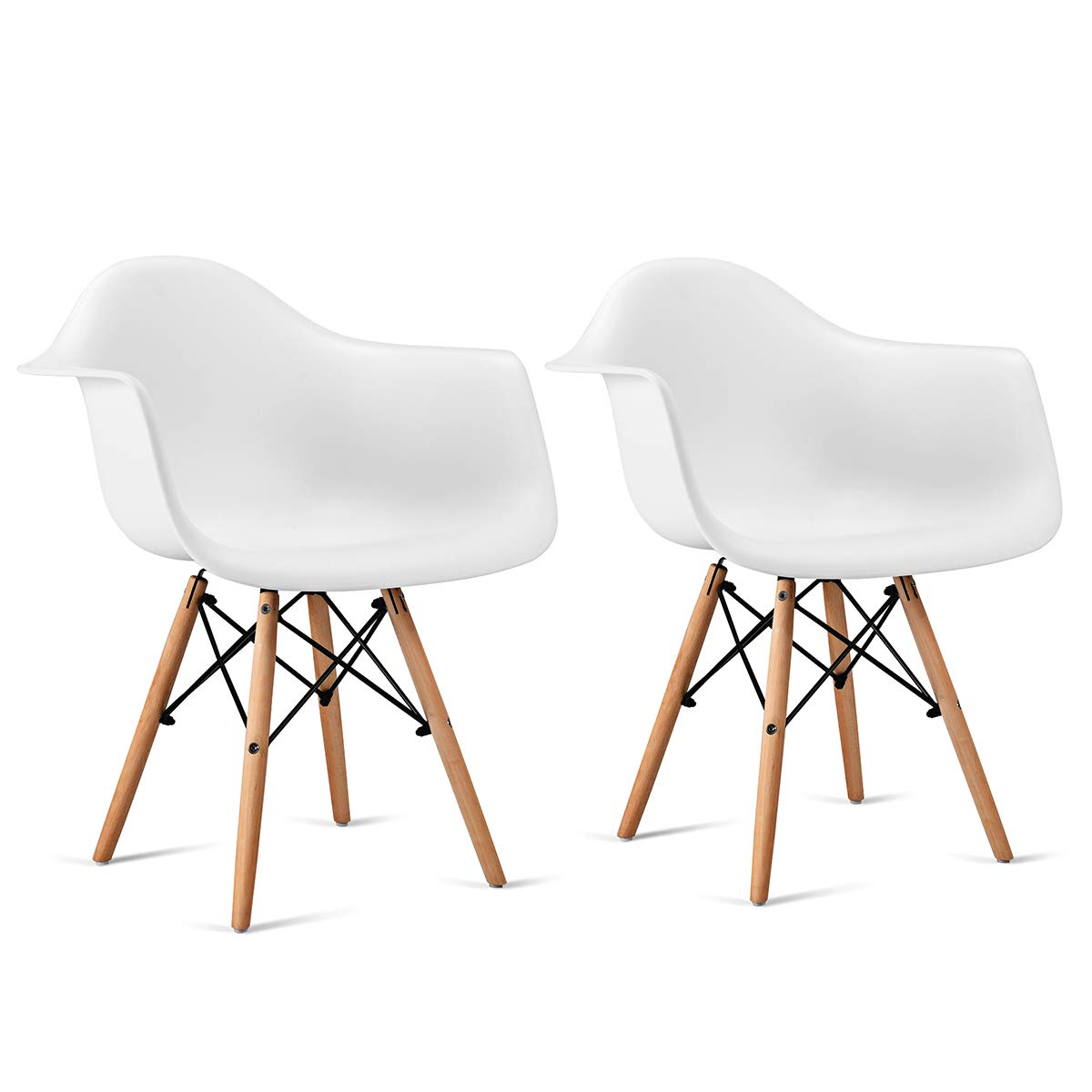 Giantex Set of 2 Modern Dining Chairs w Natural Wood Legs, Easily Assemble Mid Century DSW Molded Plastic Shell Arm Chair for Living Room, Bedroom, Kitchen, Dining Room, Waiting Room, White