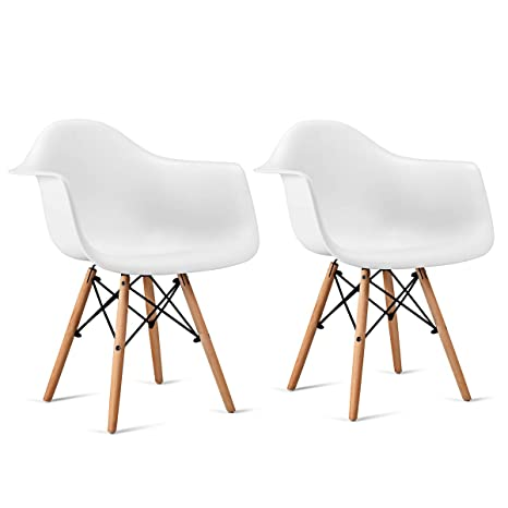 Fantastic Giantex Set Of 2 Modern Dining Chairs W Natural Wood Legs Easily Assemble Mid Century Dsw Molded Plastic Shell Arm Chair For Living Room Bedroom Ibusinesslaw Wood Chair Design Ideas Ibusinesslaworg