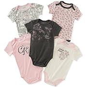 Calvin Klein Baby Girls' 5 Pack Bodysuits, Vanilla/Grey/Pink, 0-3 Months