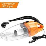 Car Vacuum Cleaner High Power Dust Buster Handheld Vac Pet Hair Crumbs Cleaner 120W 4000PA with 4.5 Meter Cord 12V (Orange)