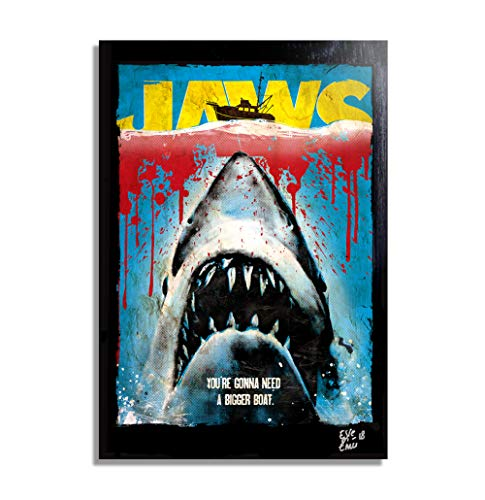Jaws, Cult Movie by Steven Spielberg, 1975 - Pop-Art Original Framed Fine Art Painting, Image on Canvas, Artwork, Movie Poster ()