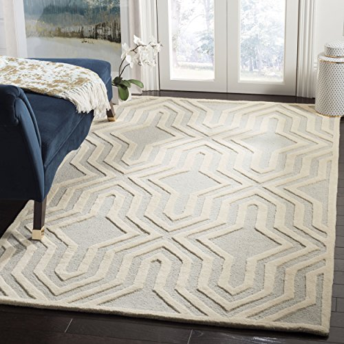 Safavieh Cambridge Collection CAM724G Handcrafted Moroccan Geometric Grey and Ivory Premium Wool Area Rug 5 x 8