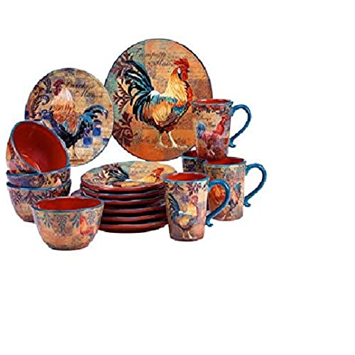 Certified International Rustic Rooster 16-pc Dinnerware Set  sc 1 st  Amazon.com & Rooster Dinnerware Sets: Amazon.com